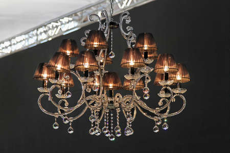 Retro style crystal chandelier with dark lampshades Stock Photo - 16246923