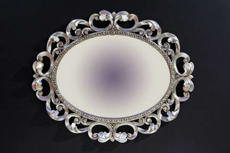 Retro style silver frame in oval shape Stock Photo - 16246925