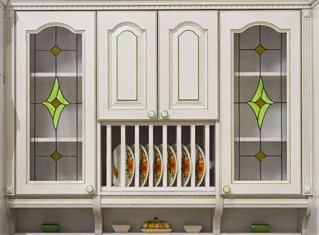 White wood retro cabinet with stained glass doors Stock Photo - 16246932