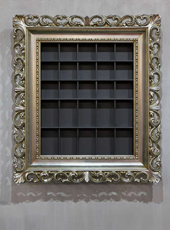 Retro style silver frame and wall shelf Stock Photo - 16246935