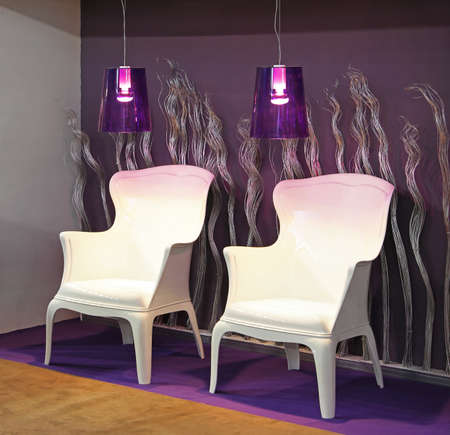 Two white armchairs and purple lamps in modern inter Stock Photo - 16246910