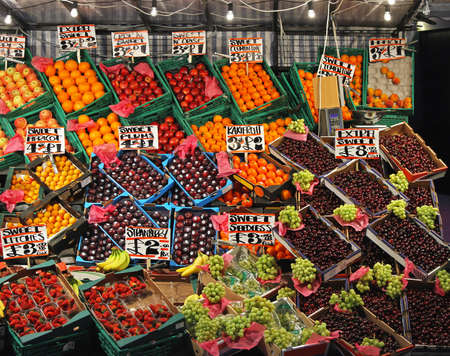 Big market stall with various fruits in crates Stock Photo - 16247016