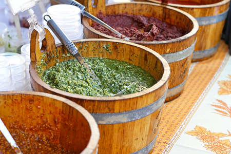 Traditional Italian cuisine Pesto Genovese in bucket Stock Photo - 16246994