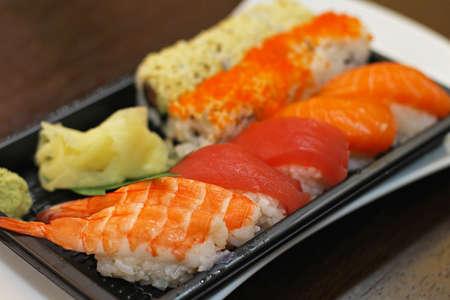 Traditional Japanese cuisine raw sushi nigiri plate Stock Photo - 16246968