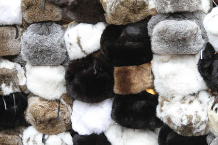 Various winter hats made from rabbit fur Stock Photo - 16325589