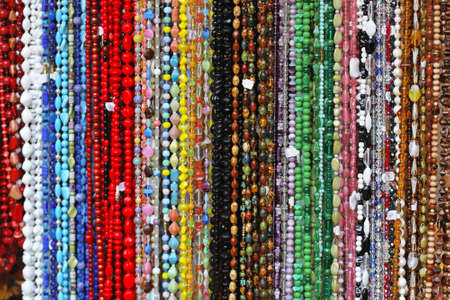 bijoux: Bunch of long necklaces with colorful beads