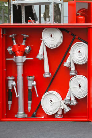 Fire fighter equipment in the red box photo