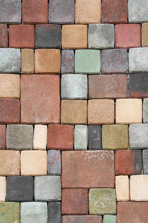 Various terracotta floor bricks in mosaic pattern photo