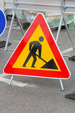 Road works triangular traffic sign at construction site Stock Photo - 16494562