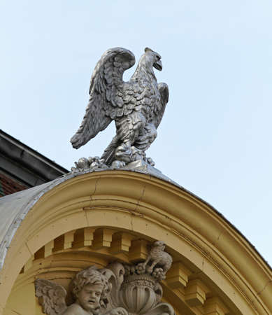 szeged: Silver Eagleat top of City Hall in Szeged Editorial