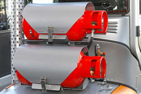 propane tank: Dual cyclinder methane gas powered forklift truck Stock Photo