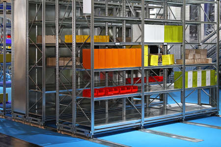 Mobile metal shelves storage system in warehouse Stock Photo - 16574474