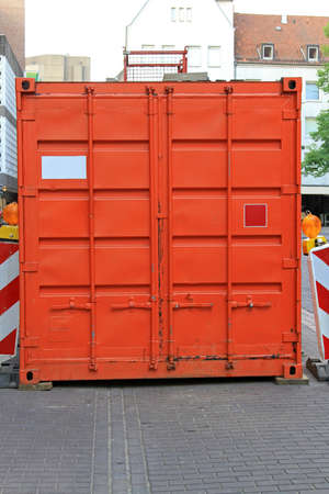 Orange cargo container at city street Stock Photo - 16574478