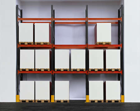 Shelving system with pallets in distribution warehouse photo