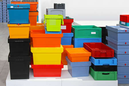 Big pile of colourful plastic crates and boxes Stock Photo - 16574479