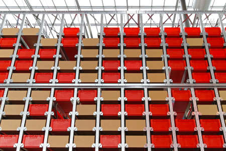 plastic box: Warehouse high shelf racking with boxes and crates