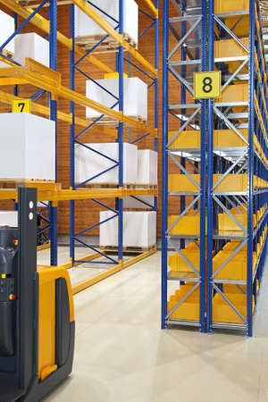 Modern distribution warehouse with high shelving system Stock Photo - 16574471