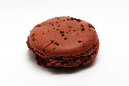 One brown chocolate macaron cookie Stock Photo - 16601267
