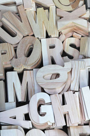 All letters od alphabet carved in 3d wood Stock Photo - 16601278