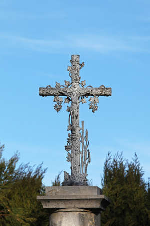 Silver cross monument with Jesus Christ crucifix Stock Photo - 16617422