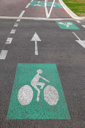 segregated: Segregated bicycle only tracks with dual lanes Stock Photo