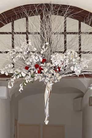 Silver bouquet decoration at entrance arch door Stock Photo - 16649000