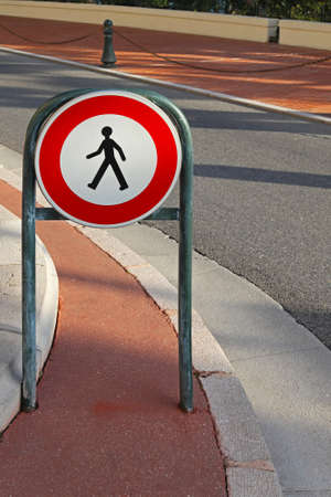 Warning traffic sign for prohibited pedestrian access Stock Photo - 16648980