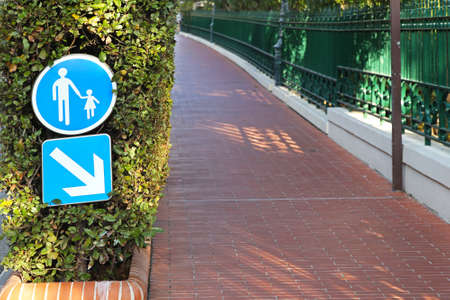 Segregated pedestrian path sidewalk with bricks Stock Photo - 16648982