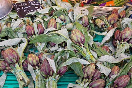 Mediterranean vegetables globe artichokes at farmers market Stock Photo - 16686636