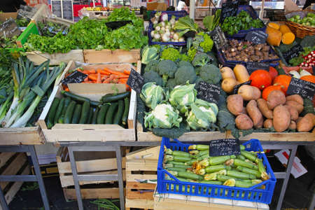 Variety of green vegetables at farmers market Stock Photo - 16686644