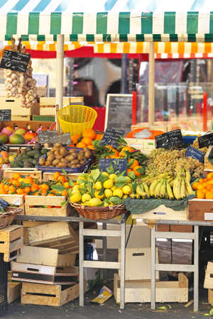 Variety of fruits at farmers market stall Stock Photo - 16686603