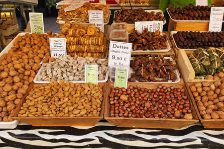 Dried fruits and nuts at market stall Stock Photo - 16686648