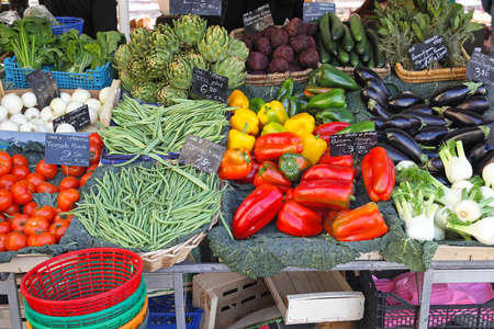 Variety of green vegetables at farmers market Stock Photo - 16686645