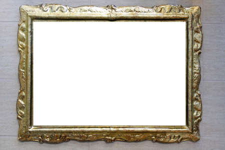 Gold retro portrait frame at marble wall Stock Photo - 16701870