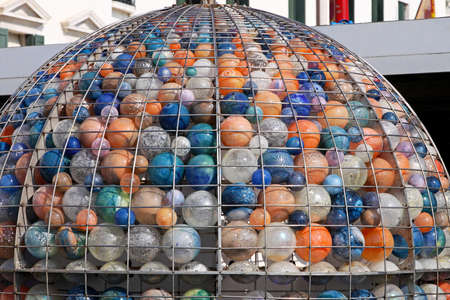 Big wire sphere with many crystal glass balls Stock Photo - 16723793