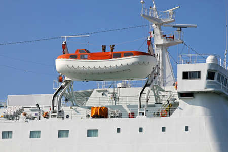 Safety boat for emergency evacuation from cruise ship Stock Photo - 16723789