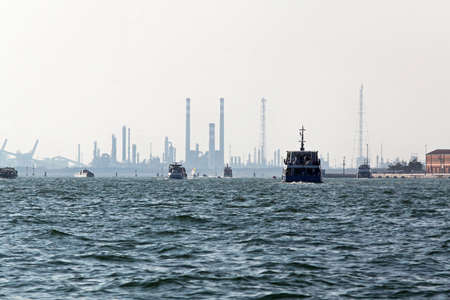 Venetian Lagoon with industrial buildings and chimneys Stock Photo - 16723787