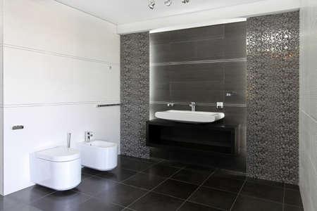 Contemporary bathroom interior in gray and white Stock Photo - 16732512