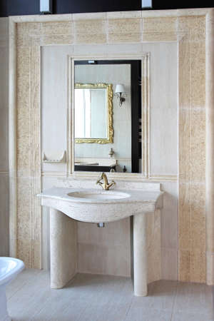 Retro style marble sink with brass faucet Stock Photo - 16732514