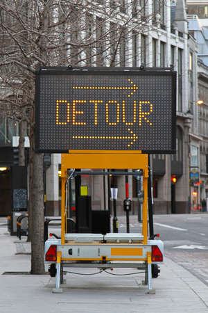 Detour arrow information display for traffic warning photo