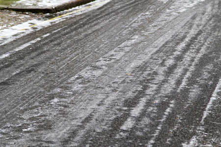 icy conditions: Freezing winter condition at road with ice