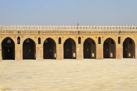 ibn: Arcaded corridors and courtyard of Ibn Tulun Mosque Cairo