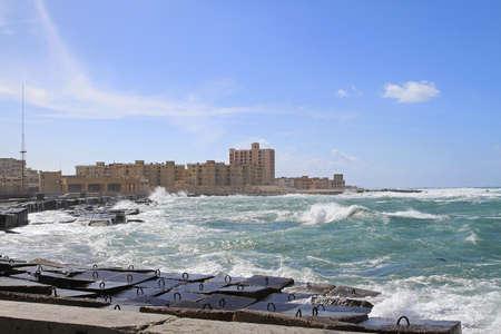 alexandria egypt: Waterfront and breakwall at Mediterranean sea in Alexandria
