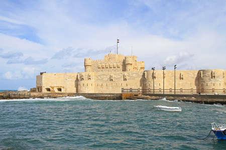 citadel: Citadel of Qaitbay in Alexandria bay Egypt Stock Photo