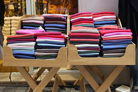 Small stall with colorful jumpers and sweaters Stock Photo - 17036825