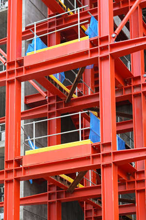 Red metal scaffold equipment at construction site Stock Photo - 17036823