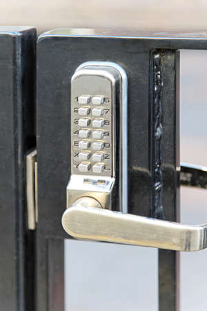 pin code: Electronic lock with pin code at fence