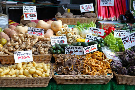 the stalls: Farmers market stall in London with organic vegetables