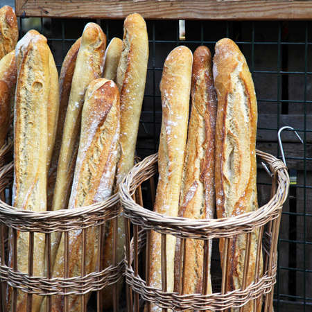 Traditional crusty French baguette bread in baskets Stock Photo - 17048709