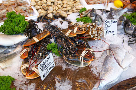 Fresh lobsters at fish market in London Stock Photo - 17048710